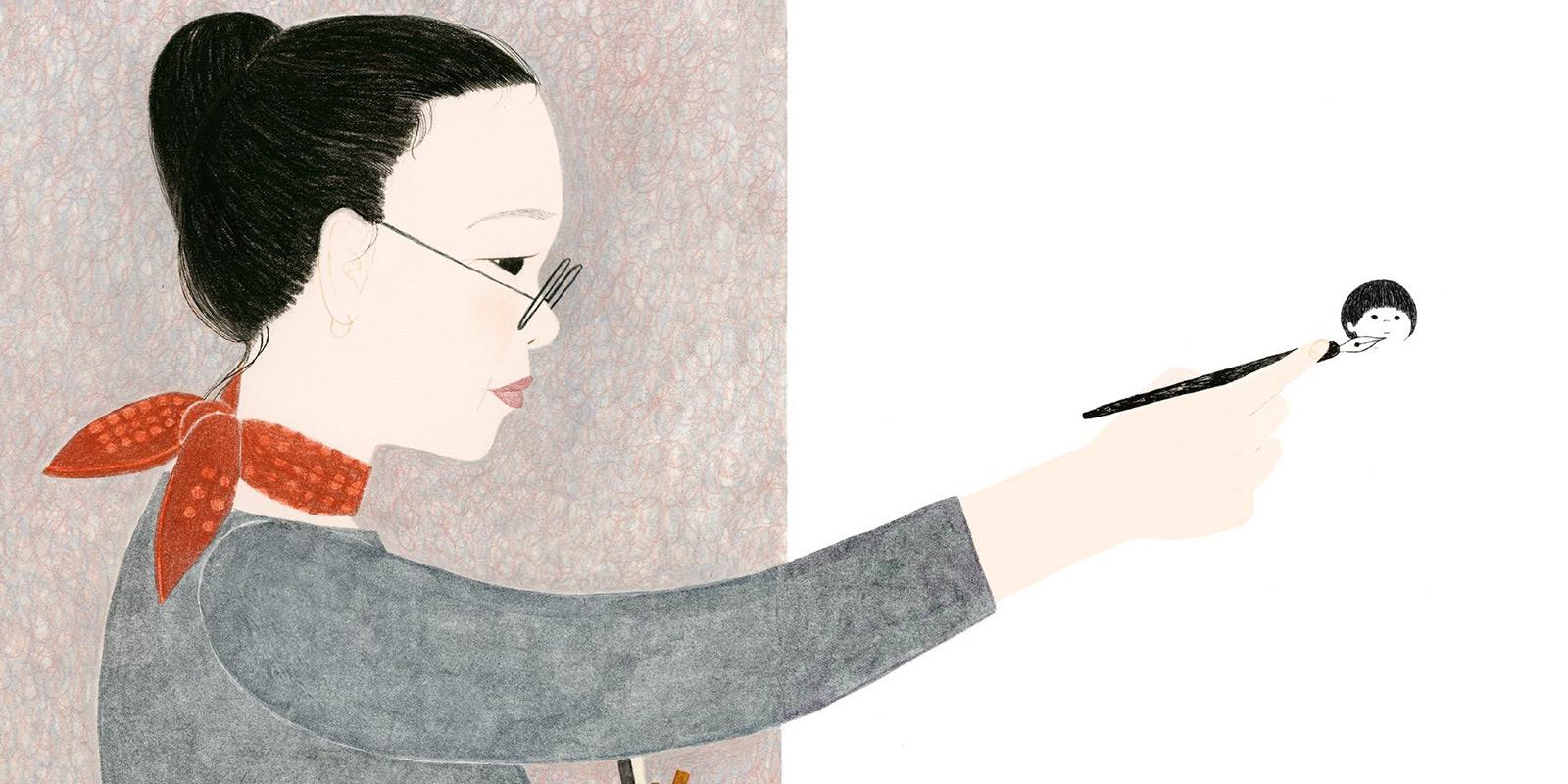 Illustration depicting Gyo Fujikawa drawing a head