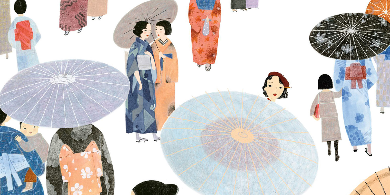 Illustration depicting women in kimonos with umbrellas