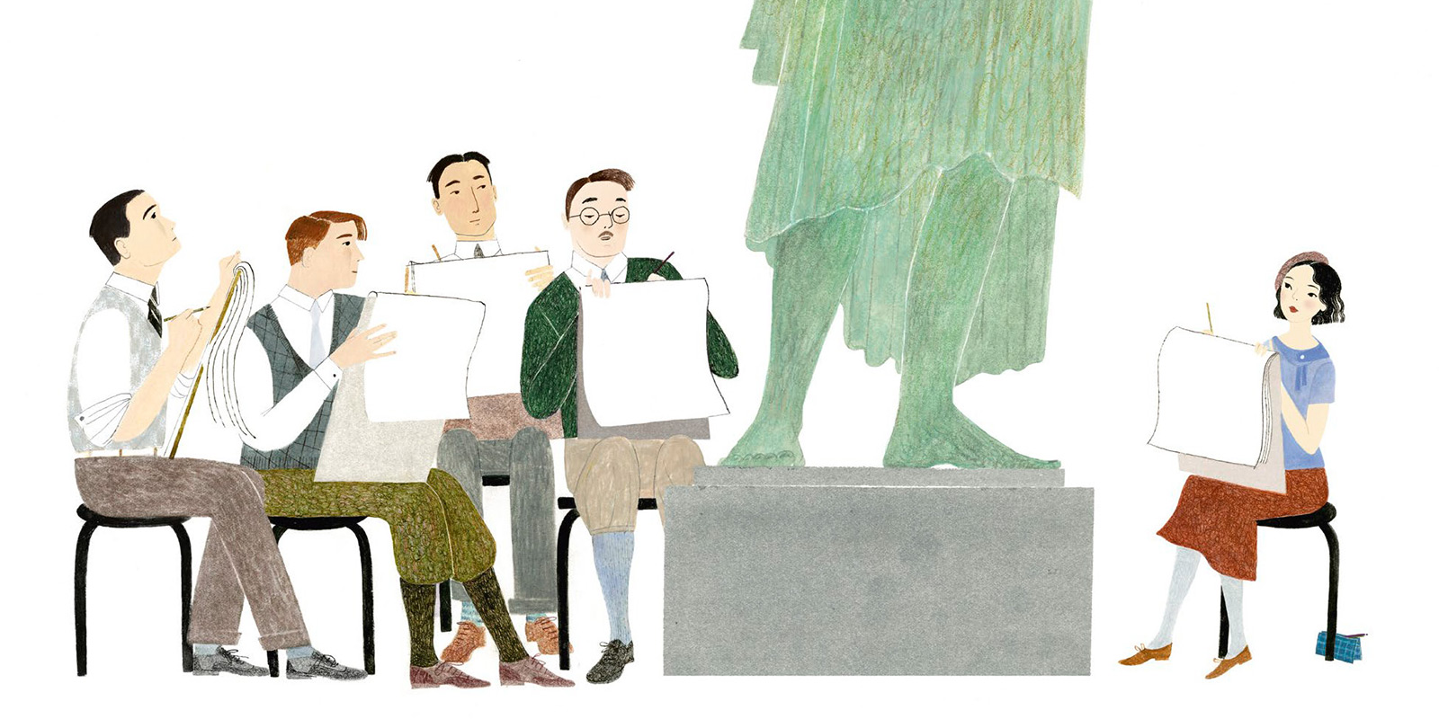 Illustration depicting Gyo Fujikawa at the foot of a statue in an art class. She is sitting apart from a group of male art students. They all have sketch pads and are drawing the statue.